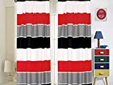 Sapphire Home 2 Panel Curtain Set, Vibrant Multi-Color, Red Gray Black White Stripes Print Multicolor Boys Kids Girls Teen Room Décor, (Curtain, Red/Gray)