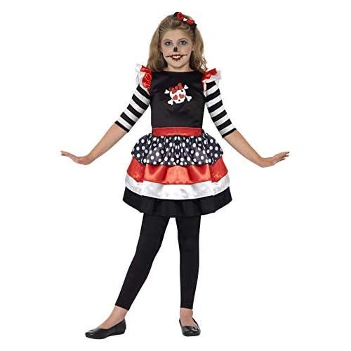SMIFFYS Smiffy's 44288T2 - Skully Ragazza del Costume Nero con Dress & Fascia, T