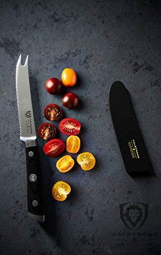 "DALSTRONG Tomato Slicer Knife - Gladiator Series - German HC Steel - 5"" - Serrated Utility - Sheath"