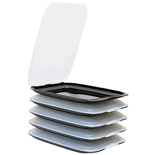 ENGELLAND - Hochwertige stapelbare Aufschnitt-Boxen, Frischhaltedose für Aufschnitt. Wurst Behälter. Perfekte Ordnung im Kühlschrank, 5 Stück Farbe Schwarz, Maße 25 x 17 x 3.3 cm