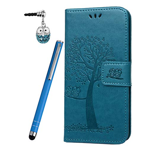 LaVibe Coque pour Xiaomi Redmi Note 7, Housse en Cuir PU Leather Etui Portefeuille à Rabat Clapet avec Porte-Cartes de Crédit Fermeture Magnétique, Hibou Arbre Flip Wallet Protective Case–Bleu