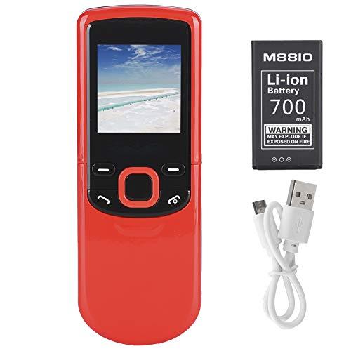 Teléfono móvil multilingüe, Ligero, multilingüe, Robusto, tamaño Compacto, Mini teléfono móvil, 1,44 Pulgadas y 700 MAH para Personas Mayores con una Sola Mano(Red, Transparency)