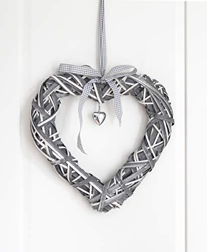 LB H&F Türhänger DEKOHERZ Herz Anhänger Weidenherz Landhaus groß grau weiß K (wd)