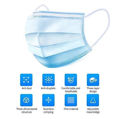 100 Stücke Weich Disposable Mundschutz Maske 3-Lagig Masken Staubdicht Einwegesschutzmasken Atemmasken mit Ohrringe, Blau 100PCS - 2
