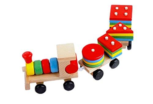 Kentop Jouets Enfants Bébé Jouets éducatifs Jouet en Bois Train Créatif Classification géométrique Bloc de Construction Empiler et Trier Jouets pour Enfants