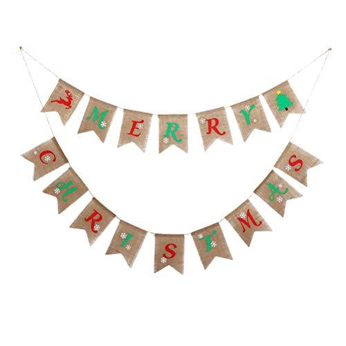 Bunting Del Feliz NavidadMerry Christmas Banderines De Yute Banderines De Lino Guirnaldas De Tela TriáNgulo Retro Banner Para Dormitorio Fiestas Deadorno Navidad Personalizado O DecoracióN De