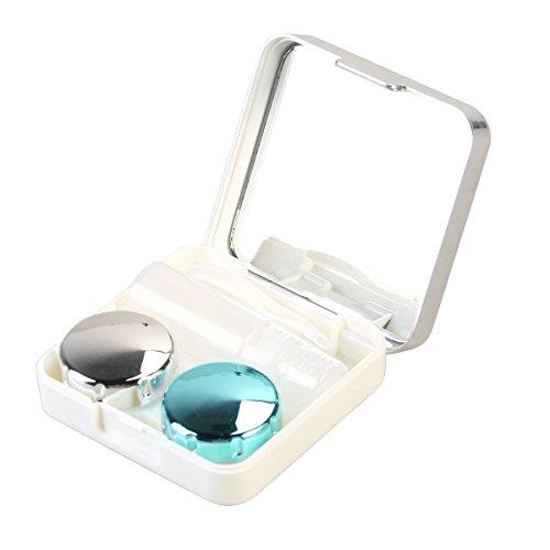 ROSENICE Lenti a contatto caso Mini viaggio semplice contatto caso contenitore Holder(Silver white)