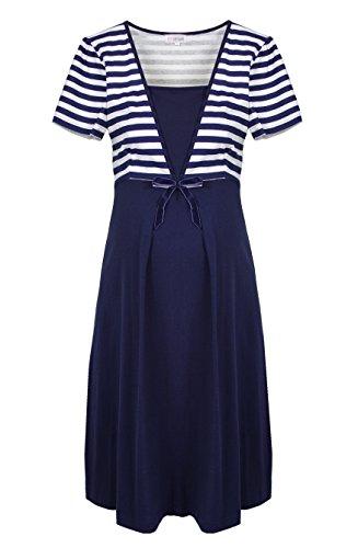 Herzmutter Umstandsnachthemd-Stillnachthemd - Schwangerschafts-Nachthemd mit Stillfunktion - Nachtwäsche für Schwangerschaft-Stillzeit - Blumen-Muster-Streifen-Maritim - 2800 ALT (S, Blau/Weiß)