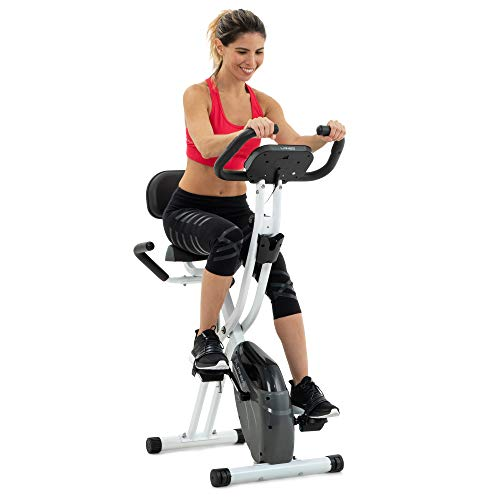 Folding Exercise Bike with 10-Level Adjustable Magnetic Resistance | Upright and Recumbent Foldable Stationary Bike is the Perfect Workout Bike for Home Use for Men, Women, and Seniors (White/Gray)