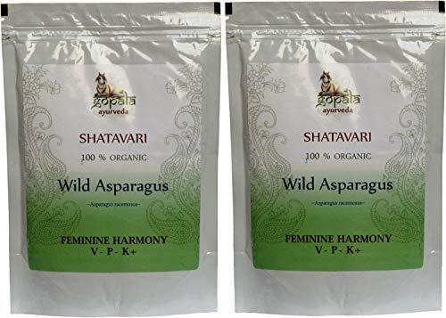 SHATAVARI Powder (USDA Certified Organic) Ayurvedic Herb Asparagus racemosus - 250g Zip Lock Pouch (Pack of 2)