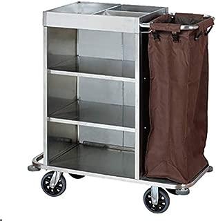 Carro de limpieza multifuncional, camión de lino para hotel, carro de servicio unilateral de acero inoxidable, bolsa de almacenamiento impermeable de gran capacidad, tres bandejas, ruedas silenciosas