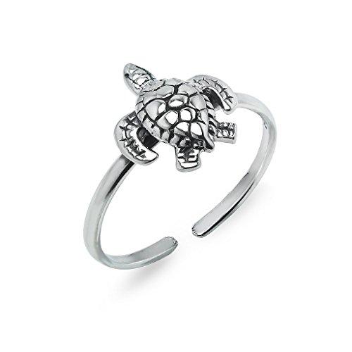 Silverline Jewelry Sterling Silver Sea Turtle Adjustable Open Toe Ring for Women & Teens