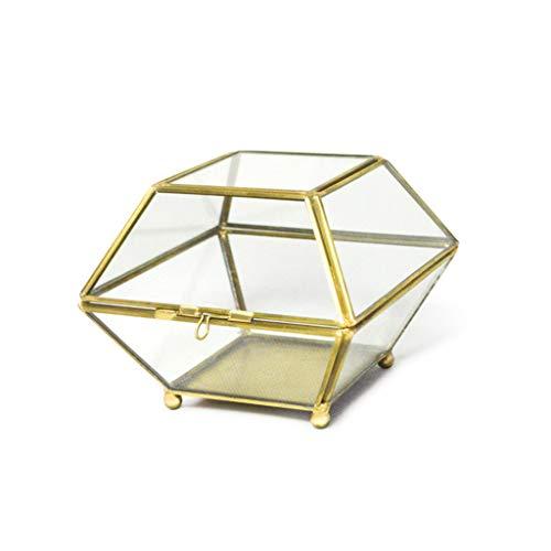 JOYKK Geometrische transparante glazen sieradendoos Plant Terrarium Display met deksel