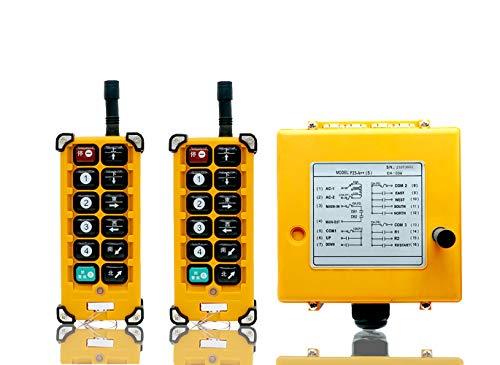 MXBAOHENG Grúa de polipasto de radio con mando a distancia F23-A++ transmisor de grúa industrial receptor universal inalámbrico para grúa con 2 transmisores y 1 receptor 380 V