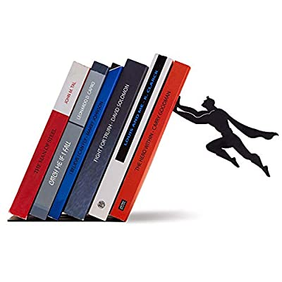 Artori Design Book Ends | Black Metal Superhero Bookend | Unique Book Stand | Desk Stand | Gifts for Book Lovers | Cool Super Hero Book Stopper | Gift for Comics Lovers | Book&Hero Metal Decor