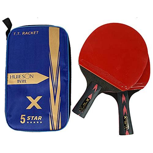 HEEYEE Raquetas de Tenis de Mesa de 5 Estrellas, Raquetas de Ping Pong, Mango Largo, manija Corta, Doble, Cara, espinillas, en, cauchos, con Bolsa,1 Horizontal and 1 Straight