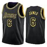Ropa de baloncesto para hombre, NBA Black-Gold Los Angeles Lakers # 6 LeBron James Sking Jersey, Uniformes de baloncesto al aire libre Camiseta sin mangas Camiseta deportiva Chaleco superior,Negro,S