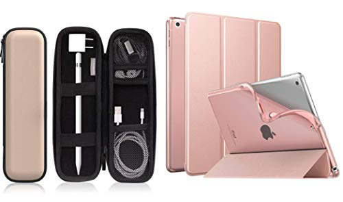 MoKo Case Fit New iPad 10.2 2019 - iPad 7th Generation Case with PU Leather Case for i-Pencil/i-Pencil 2, Soft TPU Translucent Frosted Back Cover Slim Smart Shell, Auto Wake/Sleep - Rose Gold