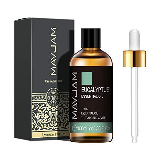 MAYJAM Huiles Essentielles Eucalyptus 100 ml, 100% Naturelles Pures Huile Essentielle D'aromathérapie de Qualité Thérapeutique, Huiles Parfumées pour Diffuseur Humidificateur Détente Cadeaux Parfaits