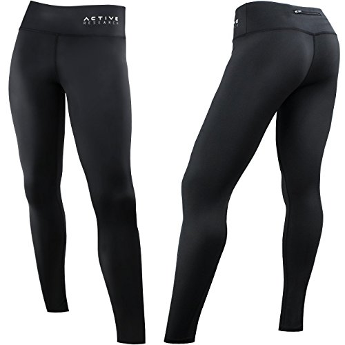 Active Research Women's Compression Pants - Athletic Tights w/Hidden Pocket - Large
