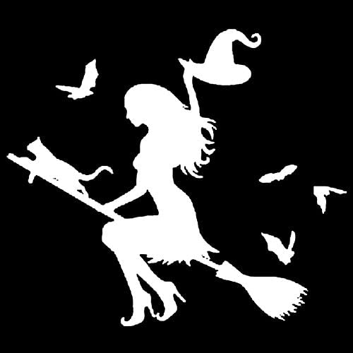 Oce180anylv Car Sticker Haus Kleine Hexe Auto Aufkleber Hexe Auf Fliegenden Besen Auto Auto Aufkleber Stoßstange Fenster Laptop Halloween Diy Aufkleber White Küche Haushalt