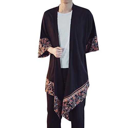 FRAUIT Herren Lange Kimono Baggy Baumwolle Leinen Druck Mantel Haori Jacke Übergangsjacke Japan Happi Kimono M-4XL