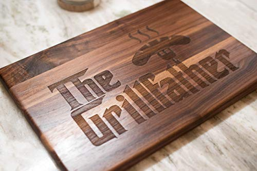 Gift for Dad The Grillfather Cutting Board is Handmade in the U.S.A. Grill - Treat your Father, Stepfather or Grandfather! Great gift for Dad on His Birthday!