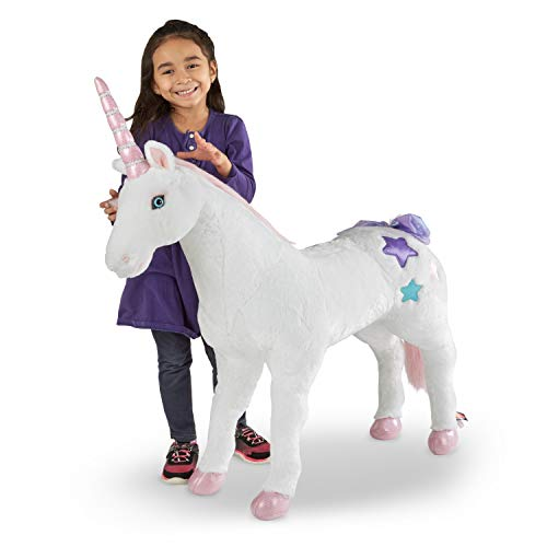 """Melissa & Doug Giant Unicorn (Stuffed Animals & Play Toys, Sturdy Construction, Pure White Plush Fur, 32"""" H x 45"""" W x 12"""" L, Great Gift for Girls and Boys - Best for 3, 4, 5 Year Olds and Up)"""
