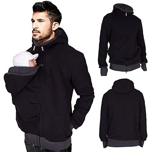 Herren Babytrage Hoodie Kangaroo Coat, 2 in 1 Herren Baumwolle Zip Up Mutterschaft Sweatshirt Jacke, Warme Softshell Jacke Für Babytrage,Schwarz,XL