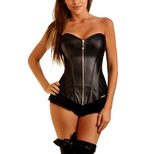 YLBH Leather Pu Zipper Corset Sexy Lingerie Palace Corset Shapewear Thong Brief Nurse Lace Up Costume Doctor Roles Cosplay Women Lingerie Set Fishnet Long Sleeve Cami Crop Black 5XL
