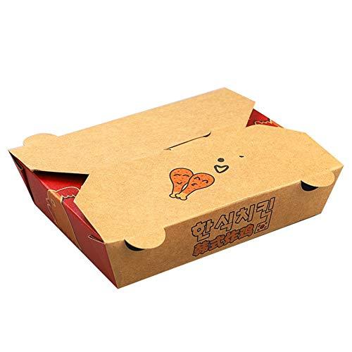 Einweg-Kraftpapier-Lunchbox - Gebratenes Hähnchen Fries Nudeln Steak Lebensmittel zum Mitnehmen Verpackung [100 Pack] (Color : 1100ML)