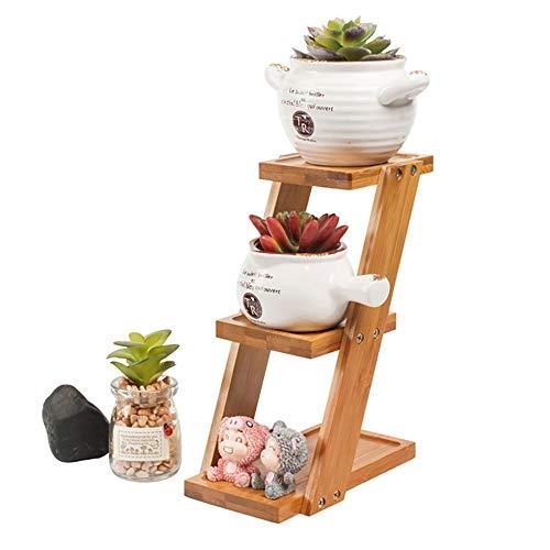 Plant Stand Bloemenrek Display Rekken met 3-laags Groove Ontwerp Bloemenpot Plank Tuin Houten Plank Woonkamer Slaapkamer Balkon Decoratie Vloerstandaard - L:9.2XB:18XH:25cm