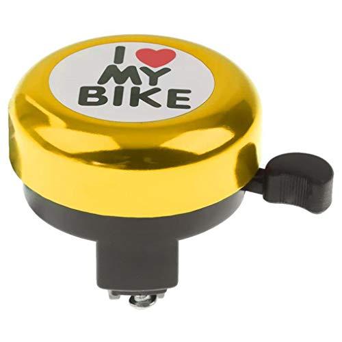 teng hong hui Ciclo Ajustable Anillo de Ciclo de Bell del Manillar de la Bicicleta del Manillar de la aleación del Anillo del corazón Impreso Accesorios de la Bici de la Infancia, de Oro,