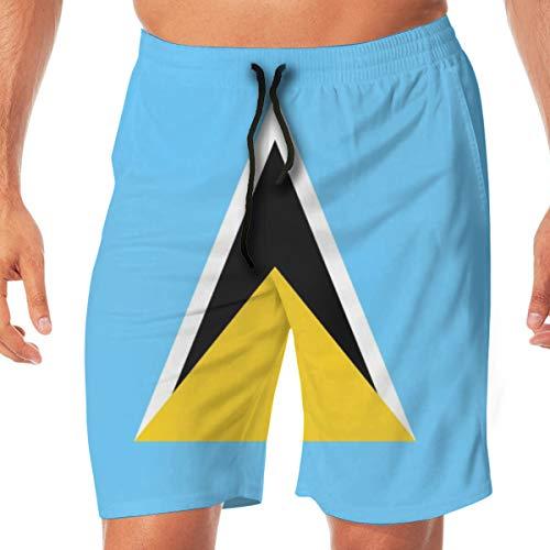Beach Shorts for Men Swim Trunks Geometric Triangle Flag Saint Lucia Swimsuit Boardshorts Pants Bathing Suits Slim Fit