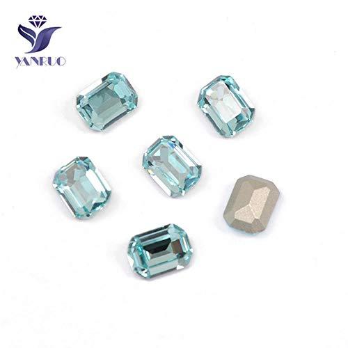 4610 Ottagon-kristallen, strass-steentjes, goudkleurig, voor kledingaccessoires, aquamarijn, met zilveren ketting.