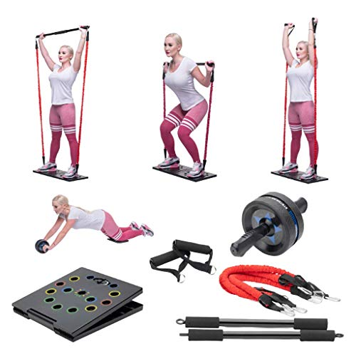 Gym Radar Portable Home Gym Workout Set | Exercise Set with 2 Resistance Bands, Collapsible Tricep Bar, Abs Roller Wheel, Grip Handles | Full Fitness Set for Building Muscle, Burning Fat & Cardio