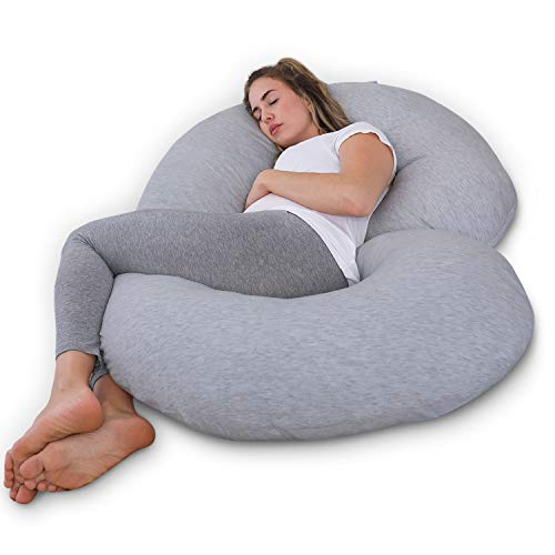 PharMeDoc Pregnancy Pillow with Jersey Cover, C Shaped Full Body Pillow Grey...