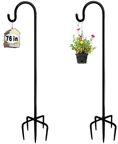 Artigarden 76 inch Outdoor Shepherd Hook with 5 Prong Base (2 Packs), Adjustable Heavy Duty Garden Hanging Stake for Bird Feeder Solar Light Plant Hanger Wedding Decor, Matte Black