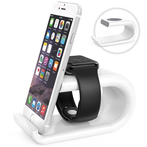 MoKo Stand für Apple Watch - Acrylic Ladestation Halter Halterung für Apple Watch Series 4/3/2/1 iWatch 2018, Handy, iPhone XS Max/XR/Xs/X/8 Plus/7/6s Plus Smartphone, Weiß