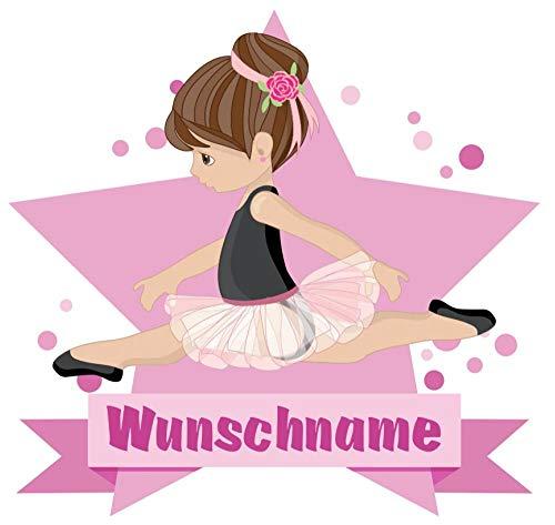 Samunshi® Ballerina Wandtattoo Türschild mit Name personalisierbar Kinderzimmer Türaufkleber Baby Wandaufkleber in 9 Größen (25x22cm Mehrfarbig)