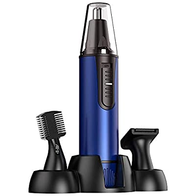 Ear and Nose Hair Trimmer - 2020 Professional Painless Nose Hair Trimmer Clipper for Men and Women,Battery-Operated Electric Nose Hair Trimmer,Waterproof Dual Edge Blades for Easy Cleansing(Blue)