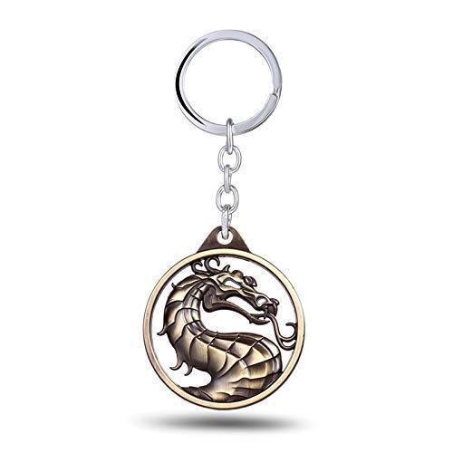 AMITD Schlüsselbund Schlüsselring Spiel Schmuck Mortal Kombat Dragon Symbol Schlüsselbund Kampfspiel Enchanted Empire Flag Pylons Schlüsselanhänger Inhaber Llaveros