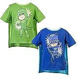 PJ Masks Short Sleeve T-Shirt - 2 Pack of PJMASKS Catboy & Gekko Short Sleeve Cape T-Shirts (Green/Blue, 4T)