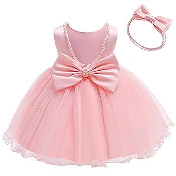 NSSMWTTC Baby Girl Easter Backless Dresses Bowknot Toddler Kid Pearls Ruffles Christmas Formal Dress Tutu Frocks  Pink,80