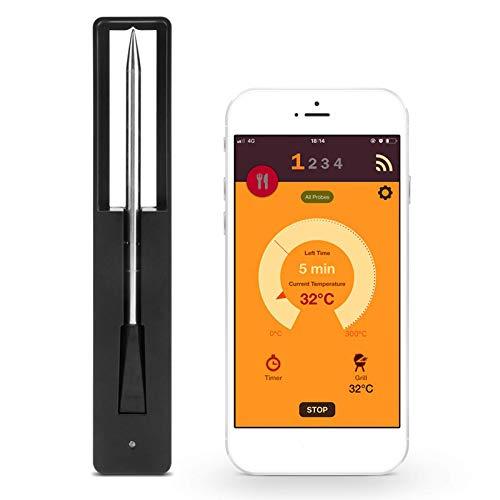 FUFRE Drahtloses Fleischthermometer Bluetooth Kabellos Küche Fleischthermometer, Grillthermometer Intelligentes,WiFi Kochthermometer für Raucherküche Grillofen,Support Ios & Android