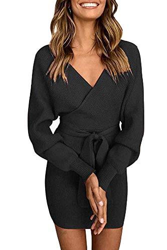 Pulloverkleid Damen Kleider Elegant Strickkleid V-Ausschnitt Langarm Tunika Kleid Minikleid Mit Gürtel (Schwarz, M)