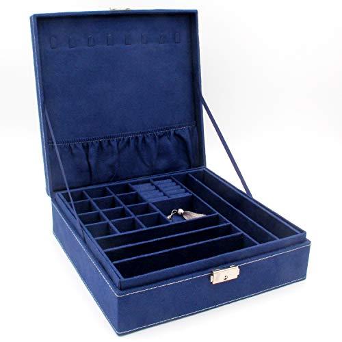 KLOUD City Two-Layer Jewelry Box Organizer Display Storage case with Lock (Deep Blue)