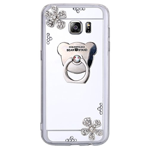 QPOLLY Compatible with Samsung Galaxy S6 Edge Plus Mirror Silicone Case with Bling Rhinestones Fleur Argent Silver Flower