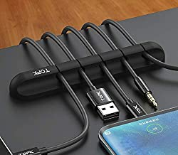 TOPK Cable Clips Cord Management Cable Organiser, Adhesive Hooks, Wire Cord Holder Power Cords Charging Accessory Cables C...