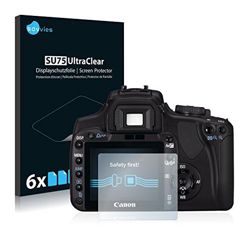 savvies Protector Pantalla Compatible con Canon EOS 400D (6 Unidades) Pelicula Ultra Transparente